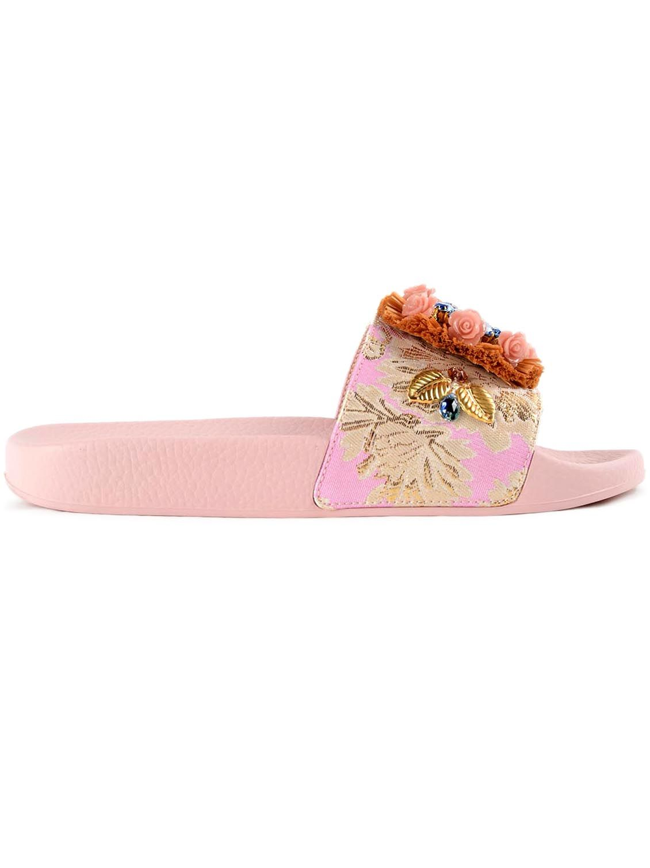 Dolce & Gabbana Dolce & Gabbana Raffia Embellished Sliders