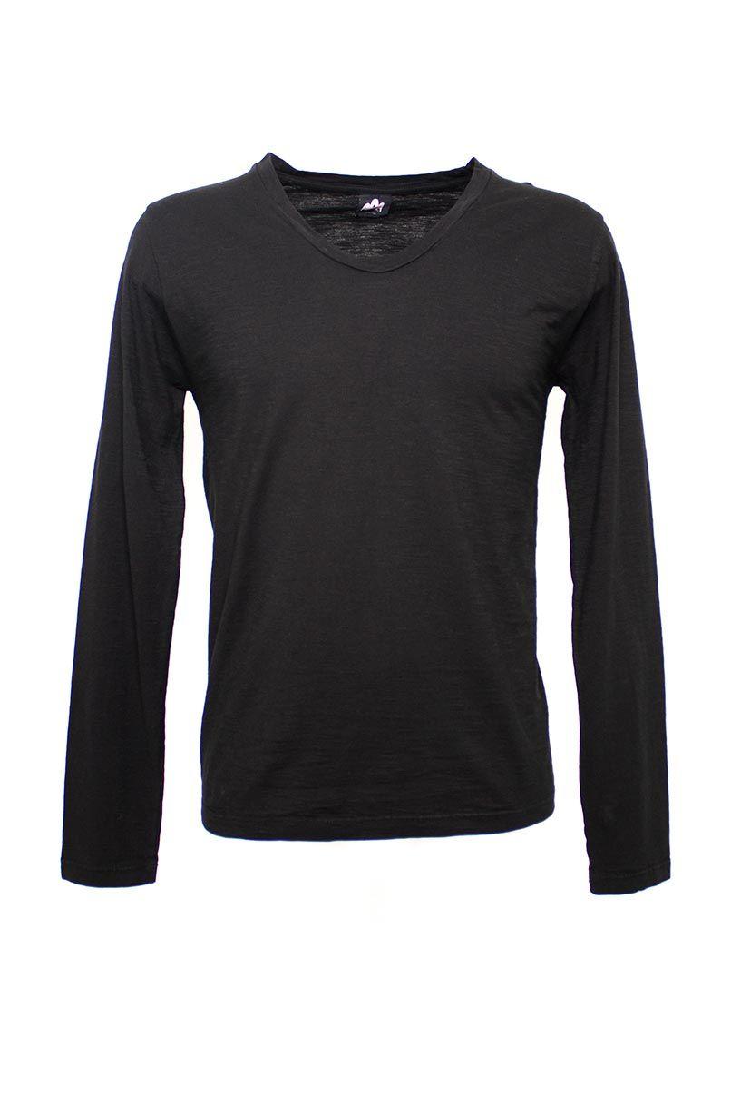 Altalana altalana flamed cotton long sleeves v neck t for Cotton long sleeve v neck t shirts