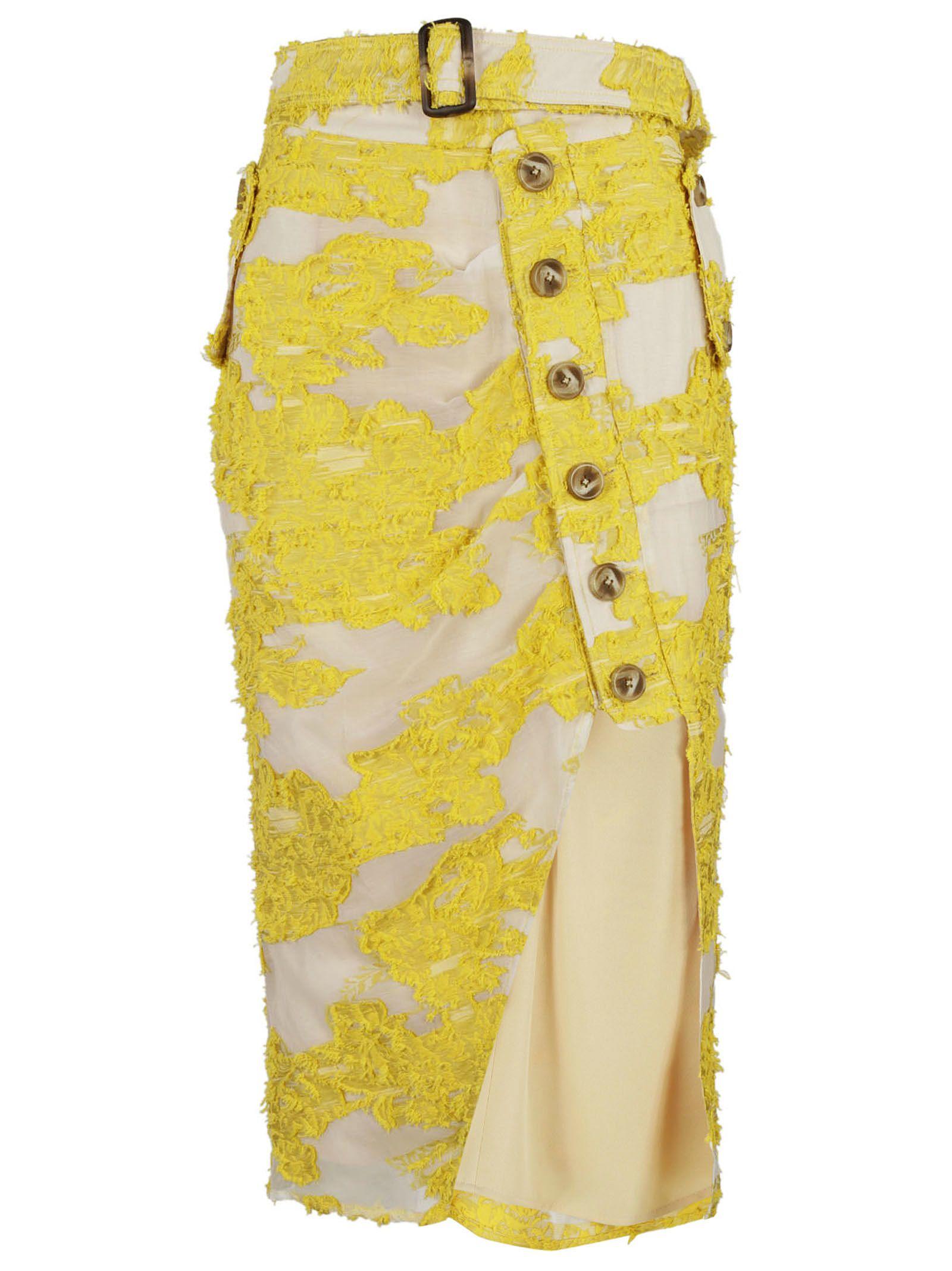 self-portrait Filcoupe Asymmetric Midi Skirt