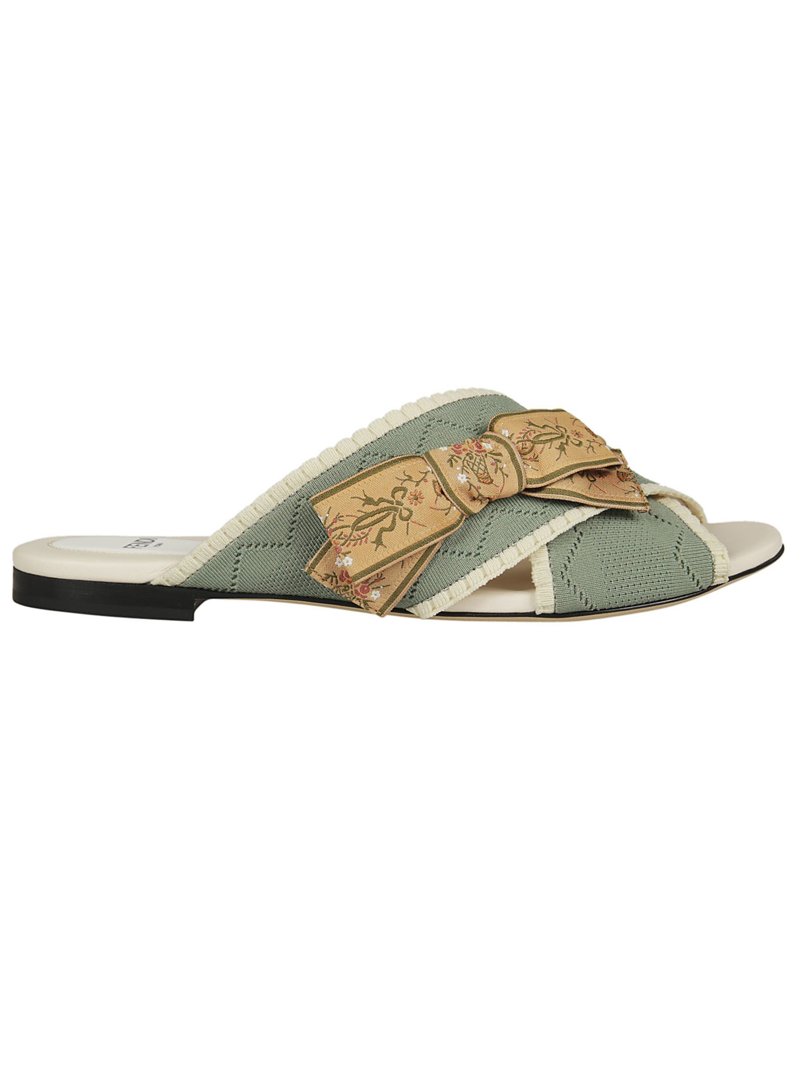 Fendi Bow Detail Flat Sandals