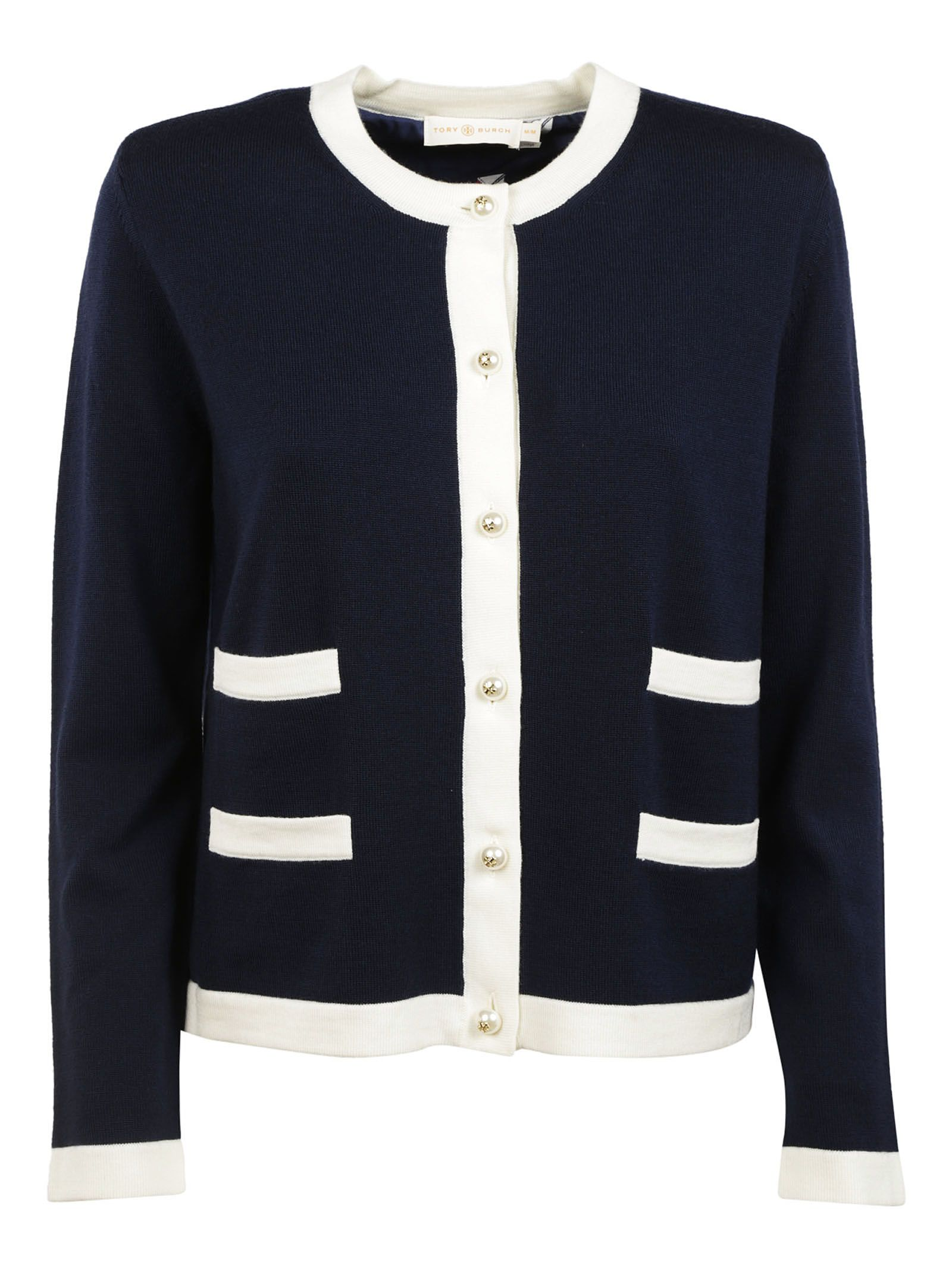 Tory Burch - Tory Burch Contrast Trim Cardigan - Navy, Women's ...