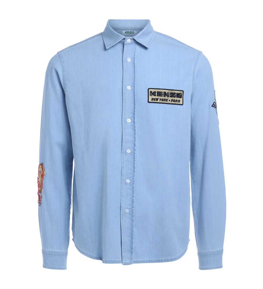 Kenzo Light Blue Denim Shirt With Patches