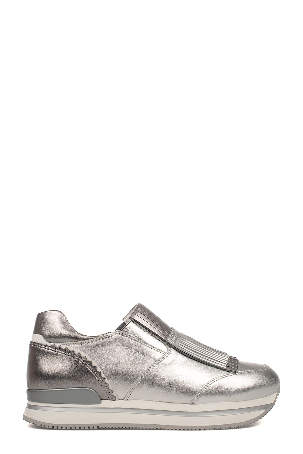 Silver H222 Slip On Leather Sneakers