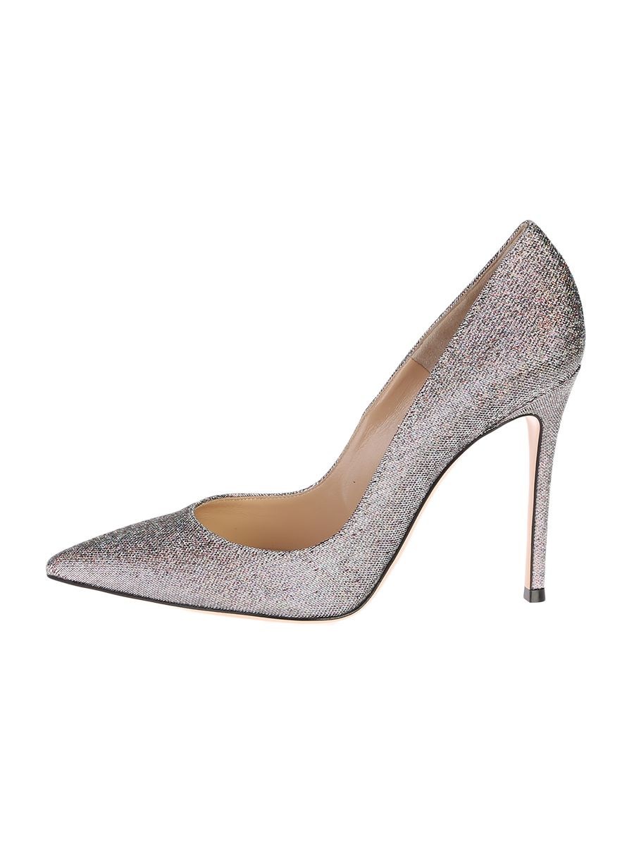 Silver Lurex And Leather Kaleido Pump Shoes