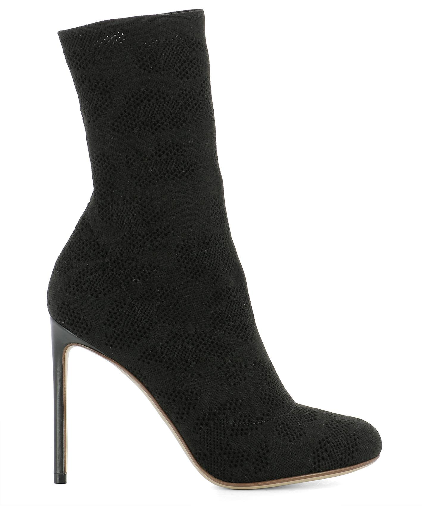 Black Fabric Heeled Ankle Boots