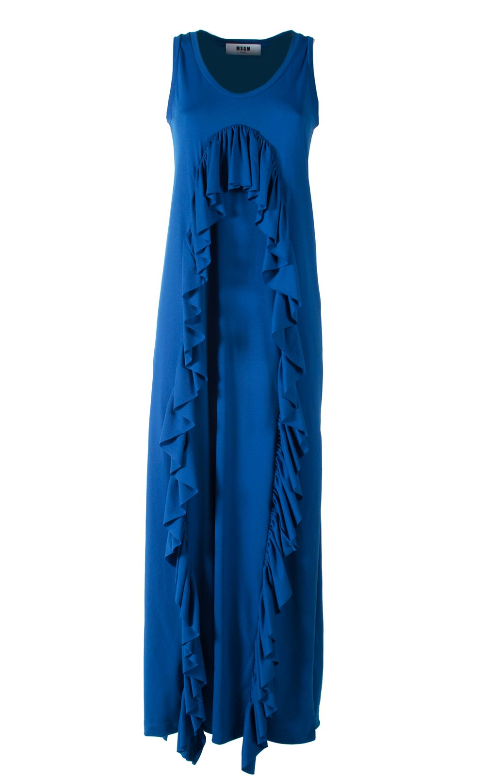 MSGM Fluted Ruffles Cotton-blend Maxi Dress