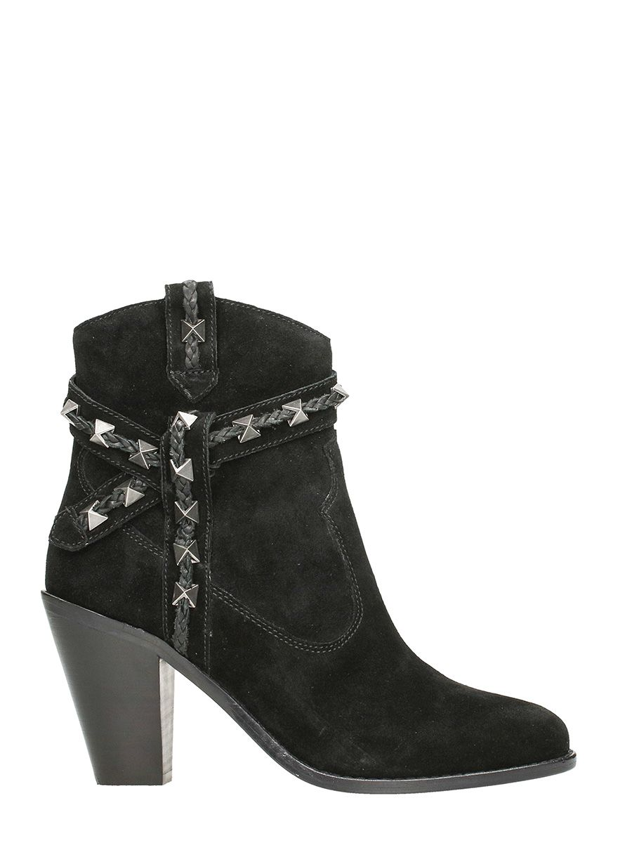 Ash Ilona Ankle Boots In Black Suede