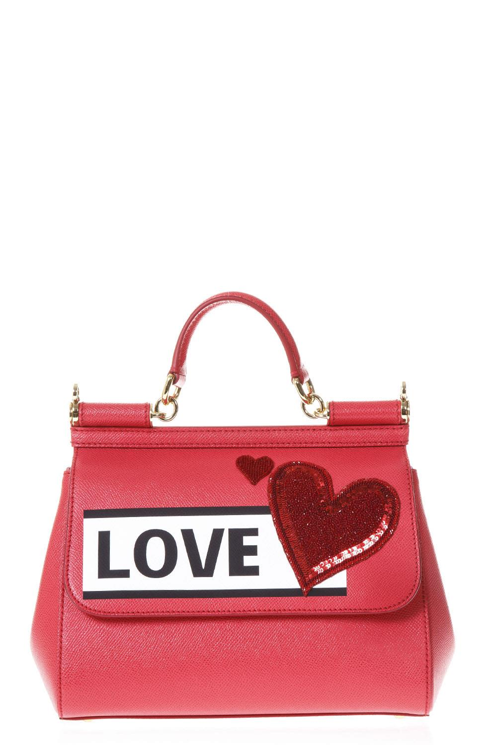 Dolce & Gabbana Sicily Ibiscus Leather Bag With Love Patch