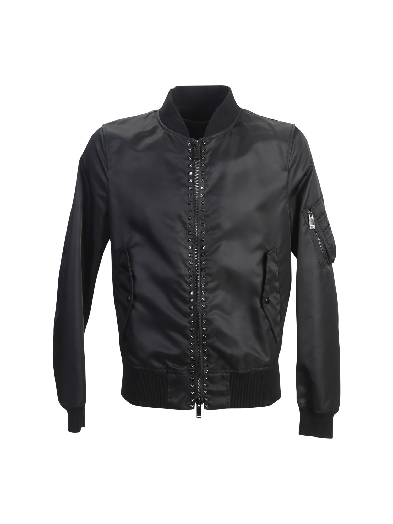 Studded Nylon Bomber Jacket
