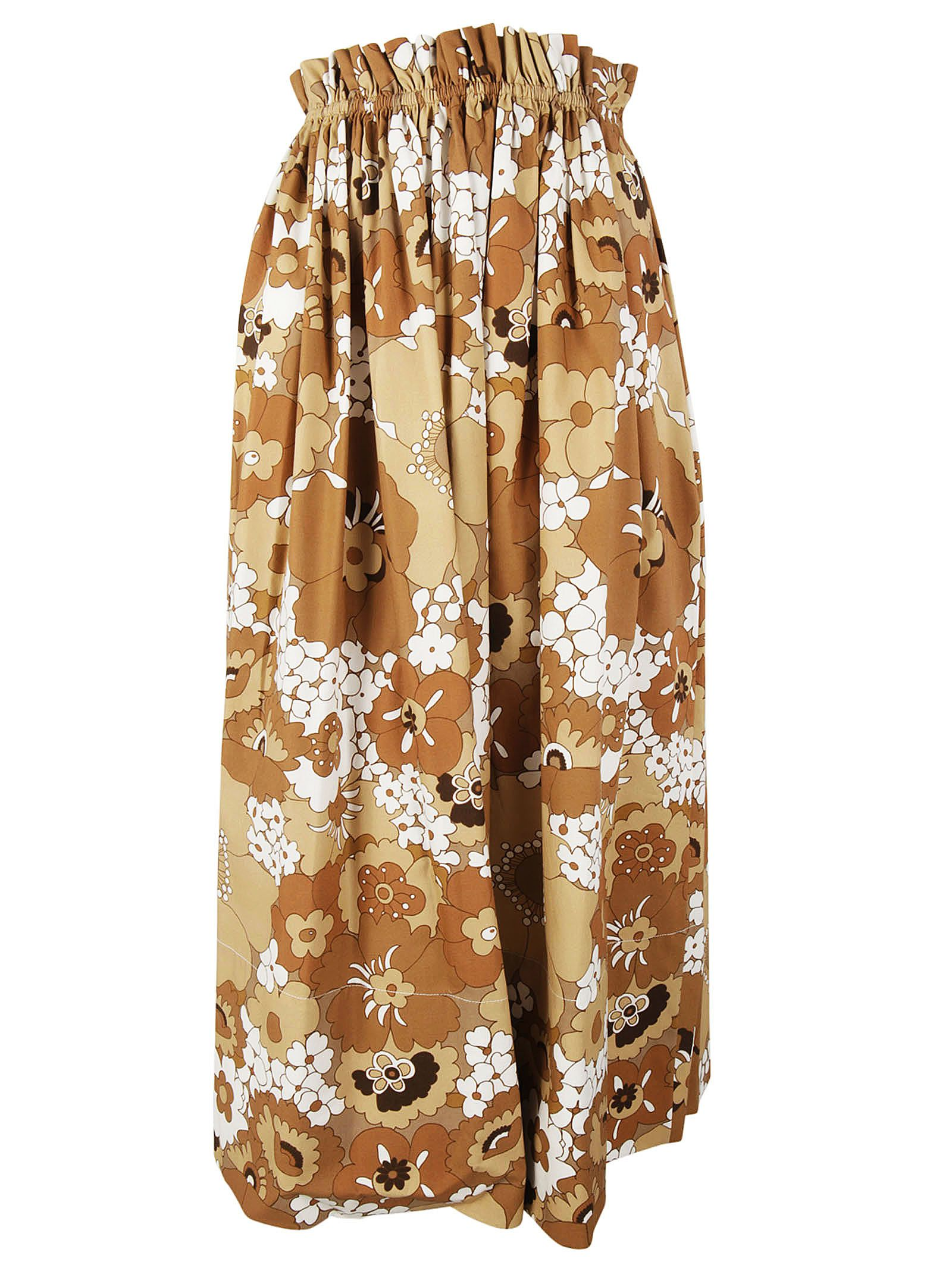 CHLOÉ Printed Cotton Midi Skirt in Multicolor Lrowe