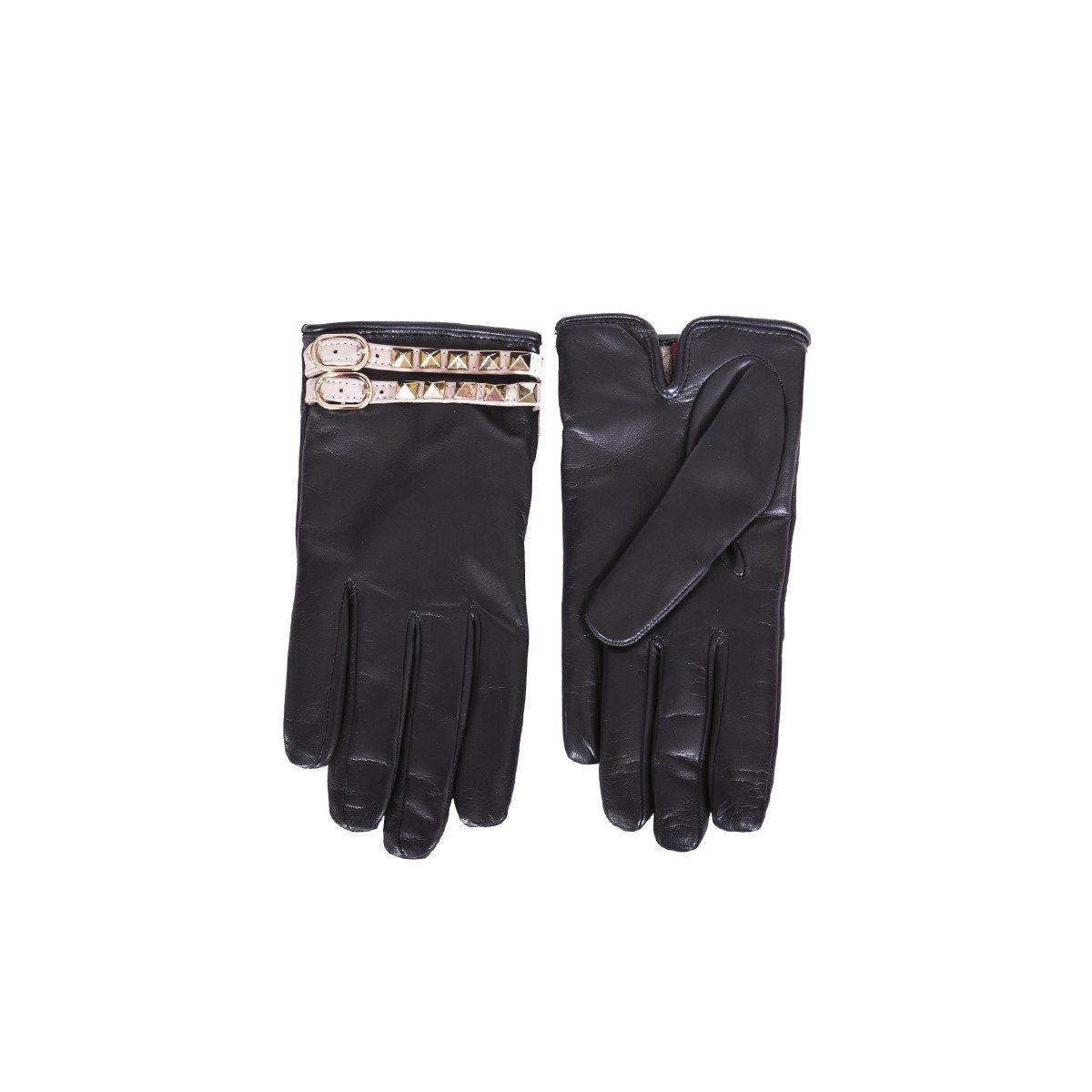 Blue Leather Rockstud Gloves