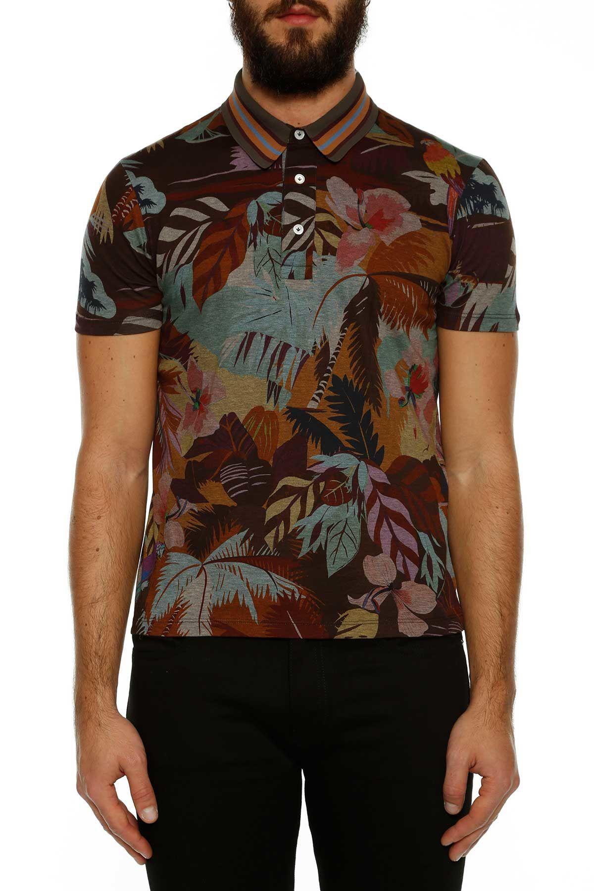 Valentino Cuba Tropical Pattern Polo T-shirt