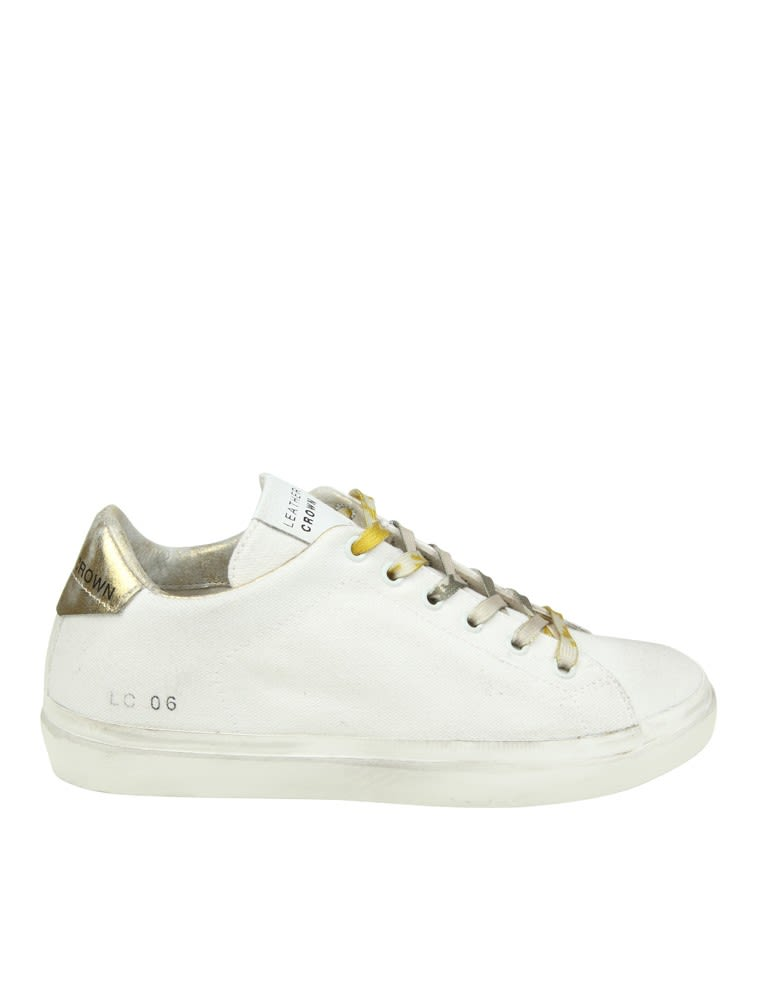 Leather Crown Sneakers In White Canvas