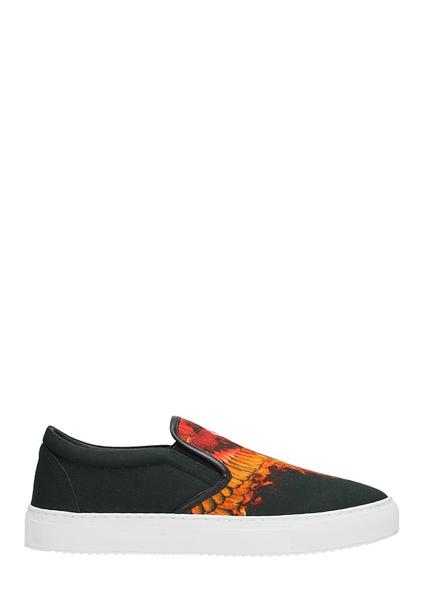 Marcelo Burlon Slip On Flame Wing Black Cotton Sneakers