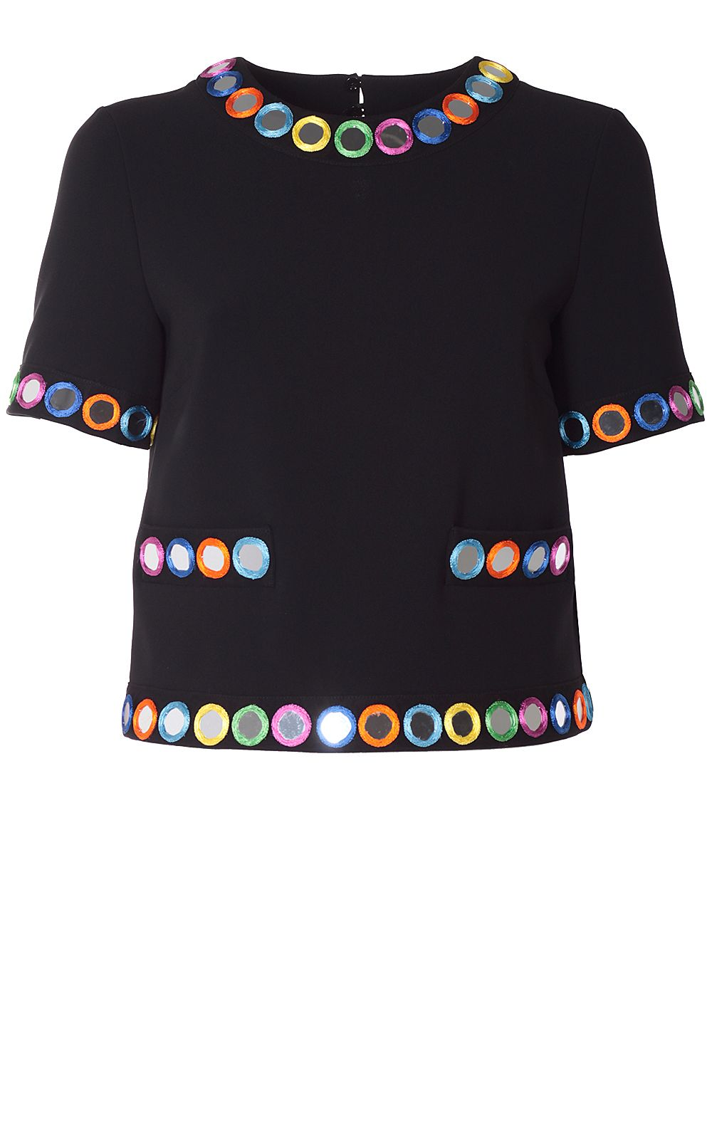 Moschino Mirror Embroidered Crepe Top