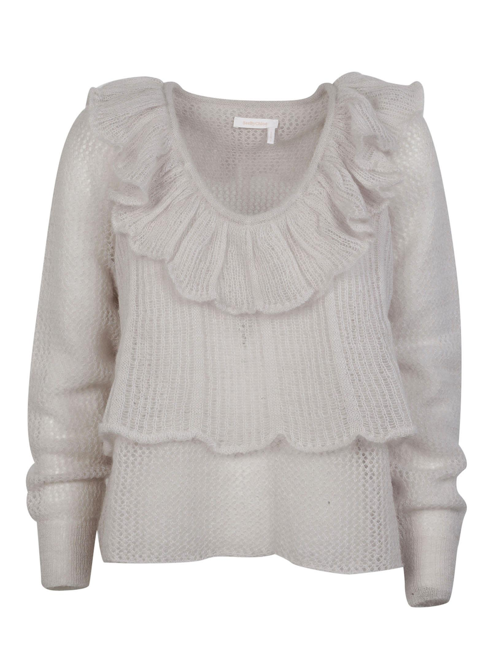 See By Chlo Ruffle Open Knit Sweater