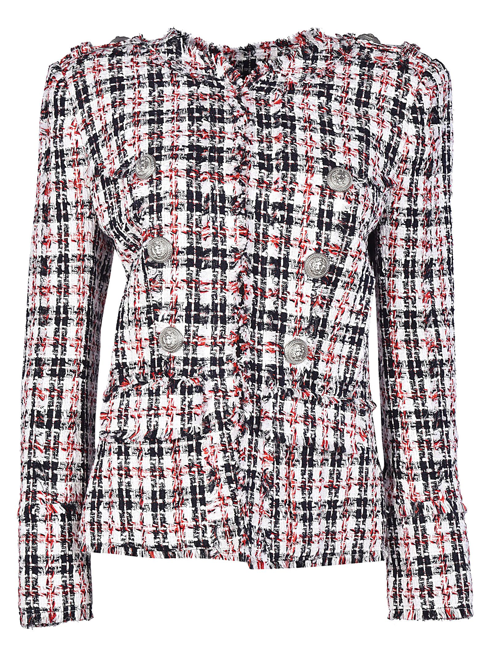 Balmain Checkered Tweed Jacket