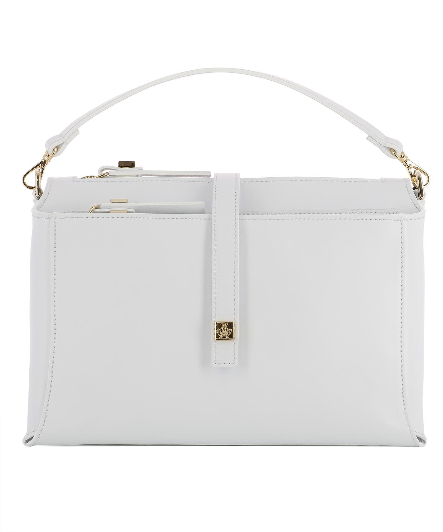 White Leather Handle Bag
