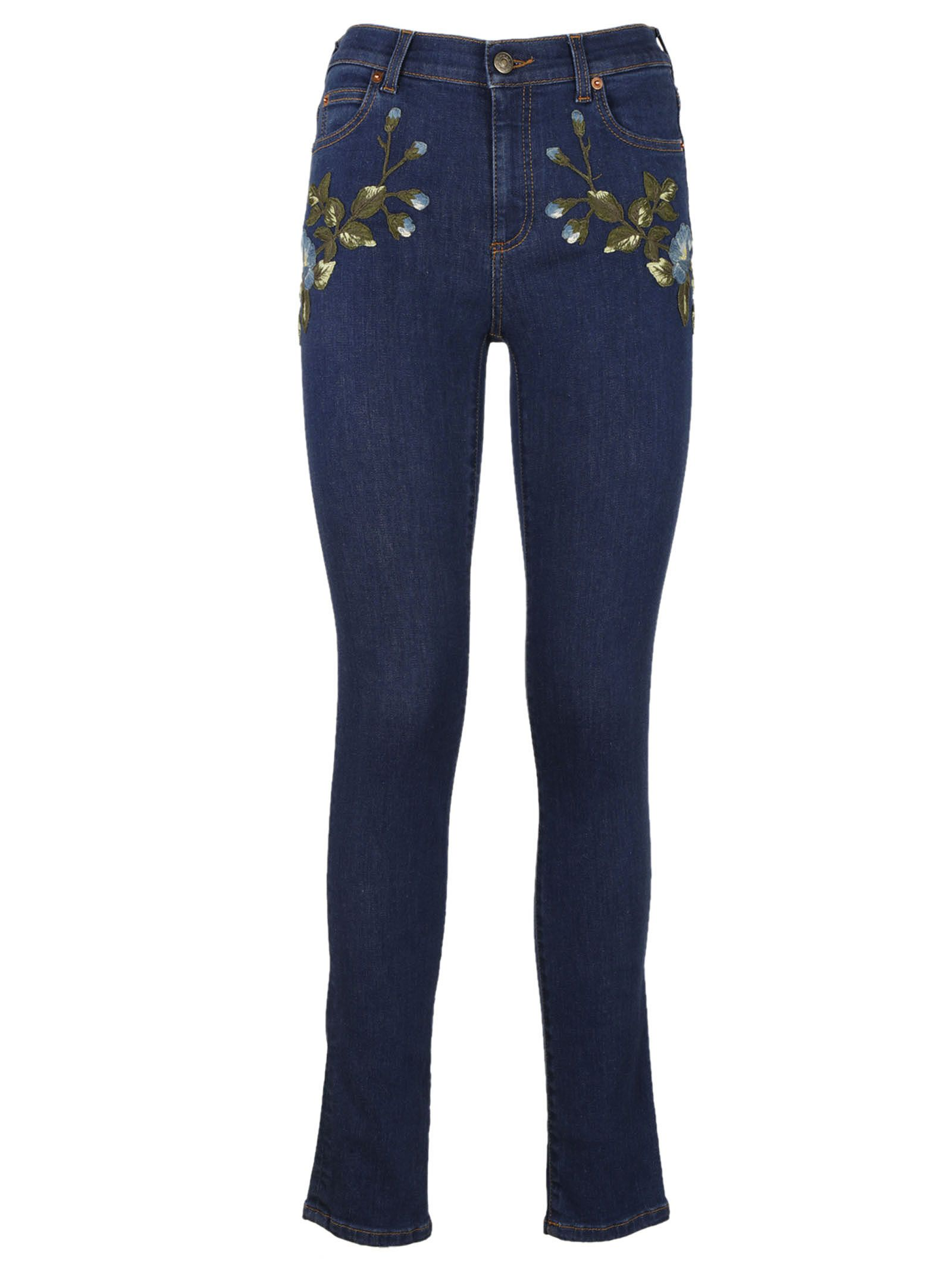 Gucci Floral Embroidered Skinny Jeans