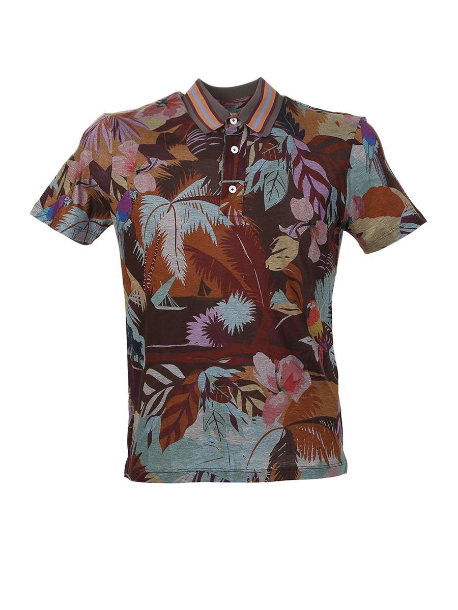 Tropical Print Cotton Polo Shirt