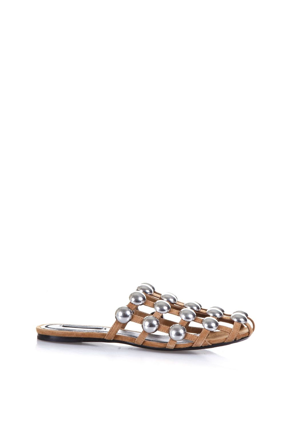 Alexander Wang Studded Suede & Leather Mules