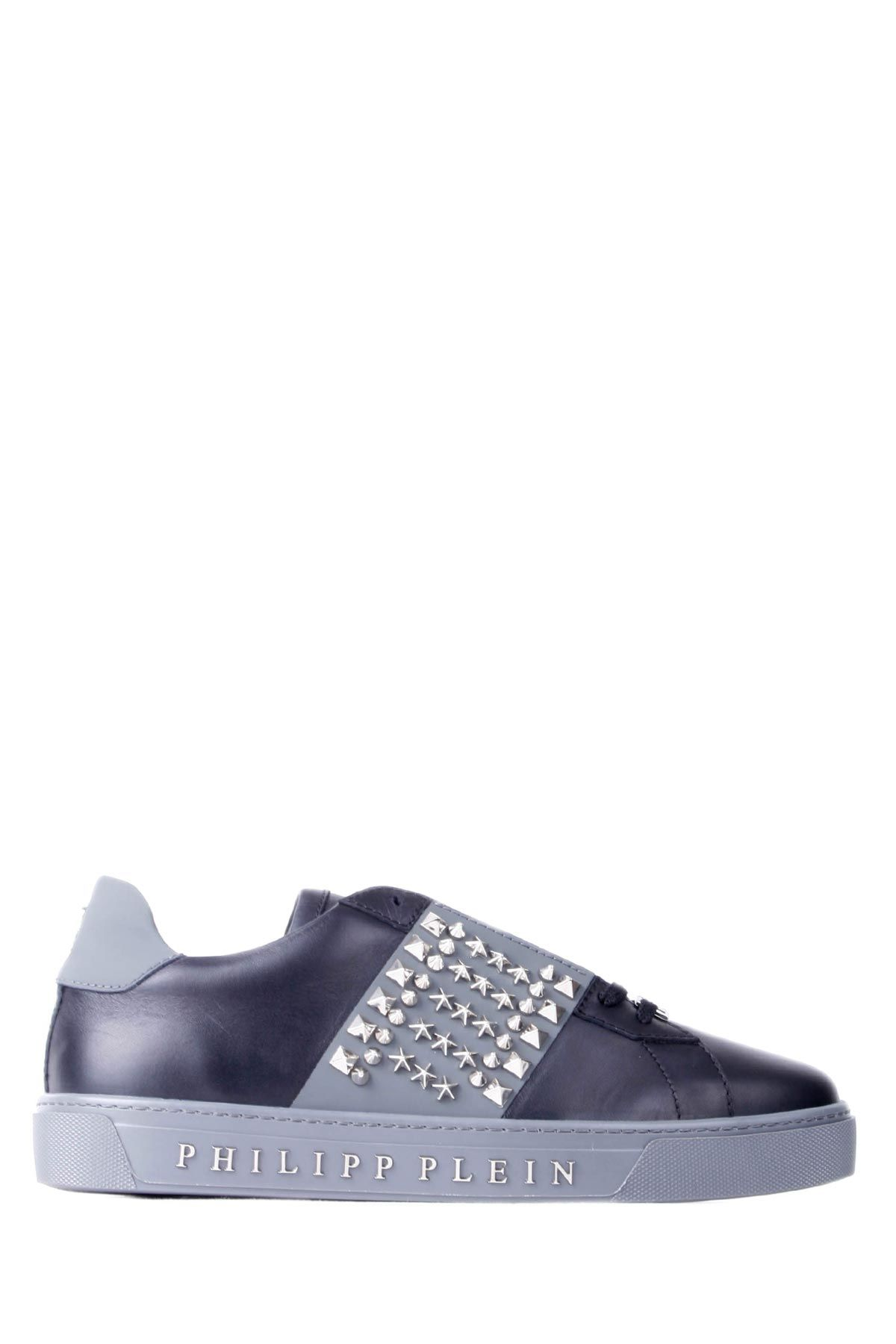 Philipp Plein Black-grey Leather Low-top Take Studded Sneakers