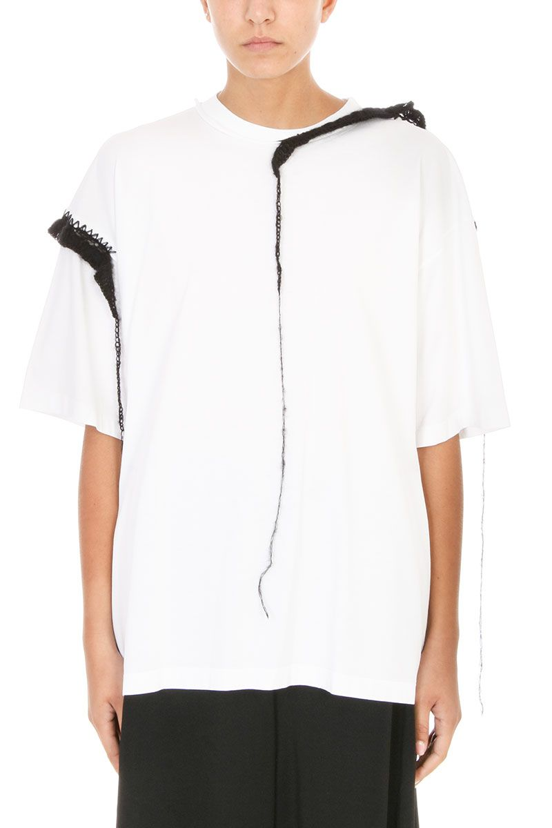 Maison Margiela Embroidered-trim Cotton And Mohair T-shirt