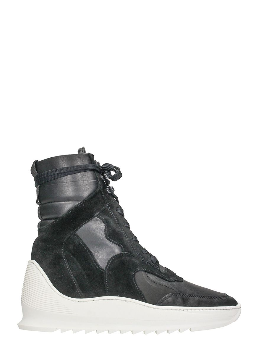 Filling Pieces Black Leather Sneakers