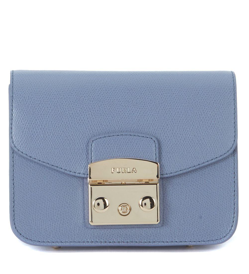 bf2d3a04b63a FURLA Metropolis Mini Light Blue Leather Shoulder Strap