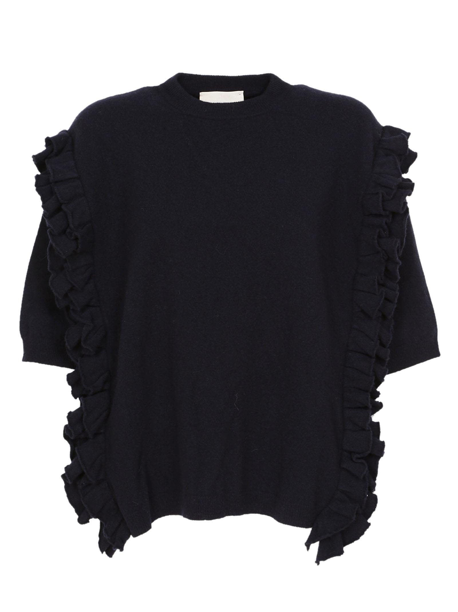 Erika Cavallini Frill Detail Short Sleeved Sweater