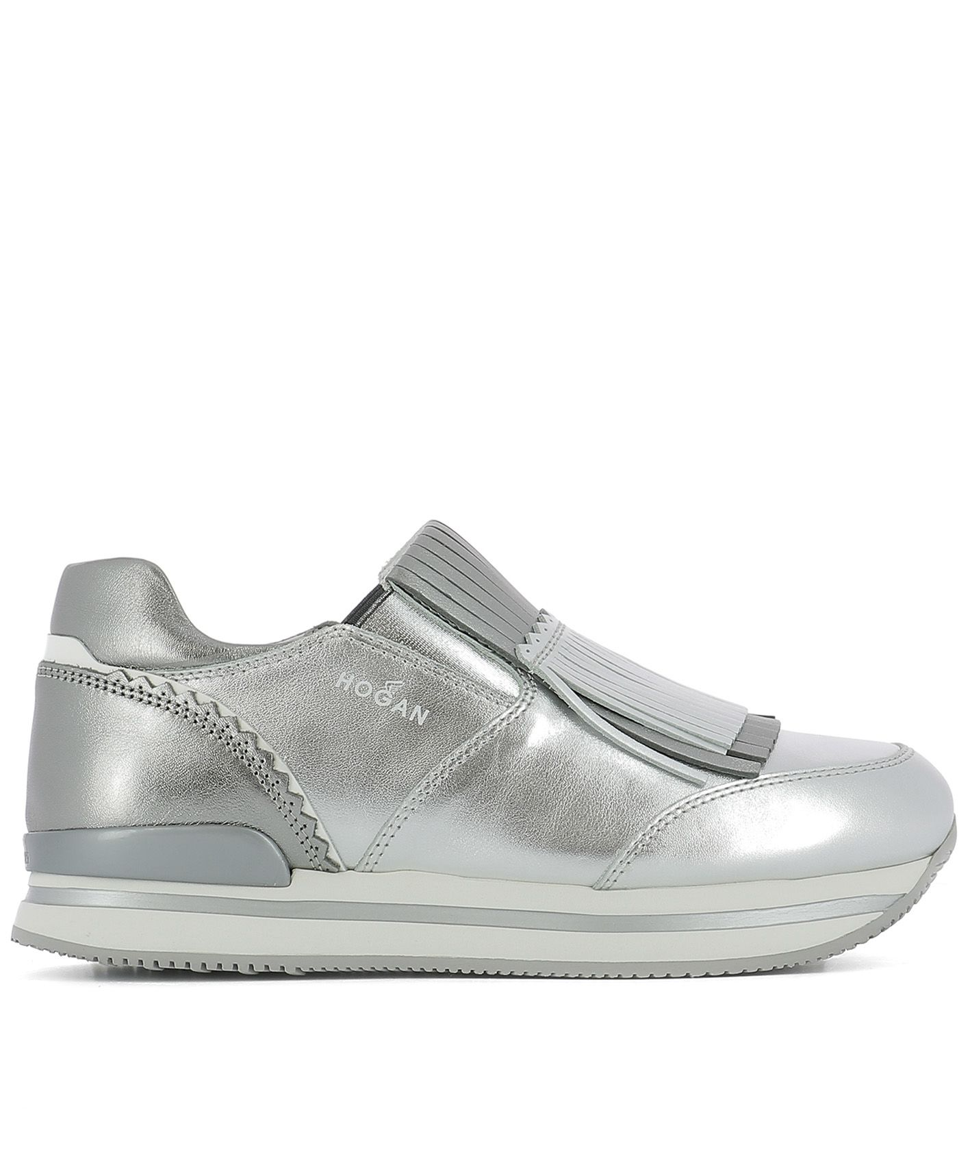 Silver Leather Slip-on