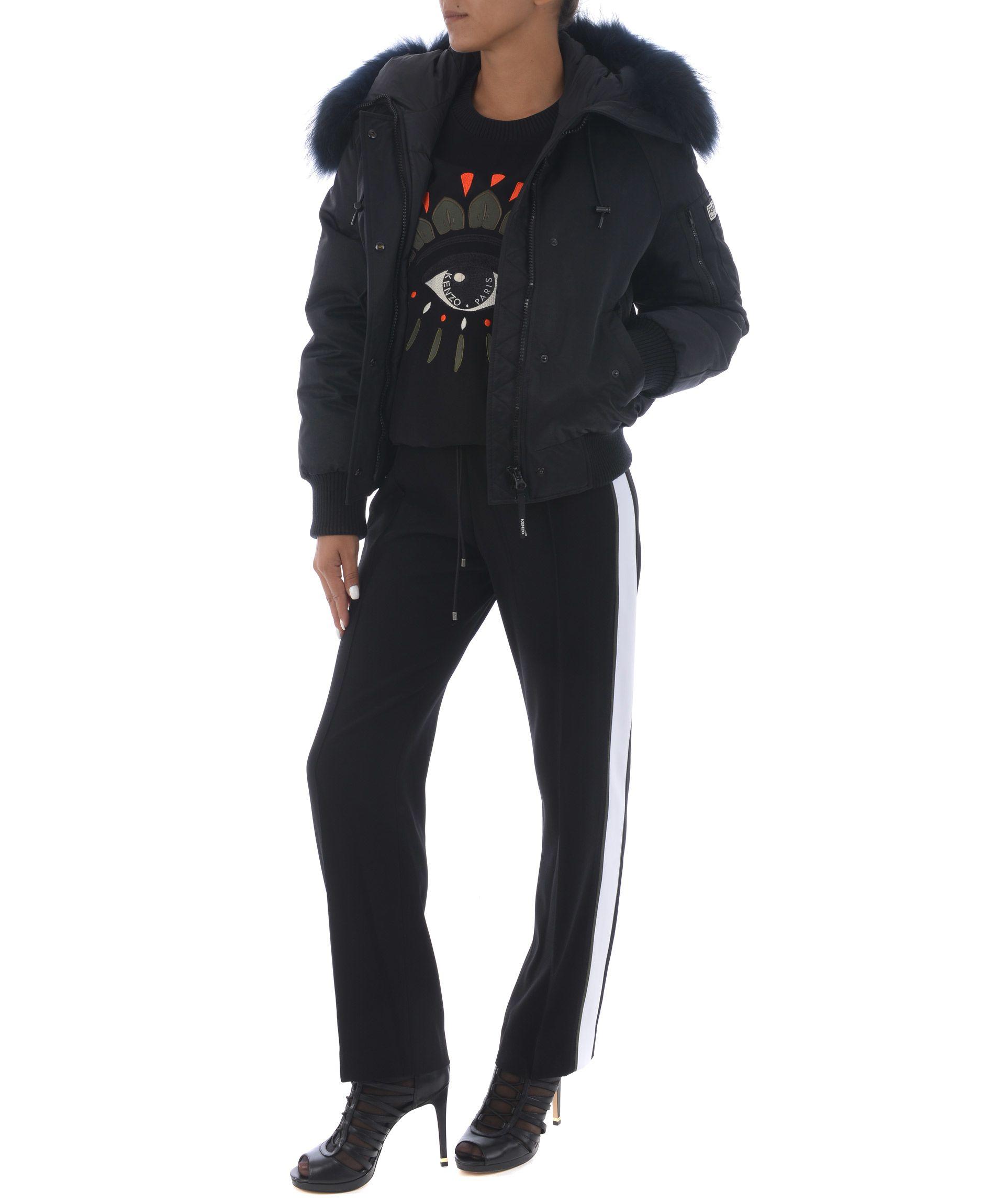 Black Faux Fur-Trimmed Shell Jacket