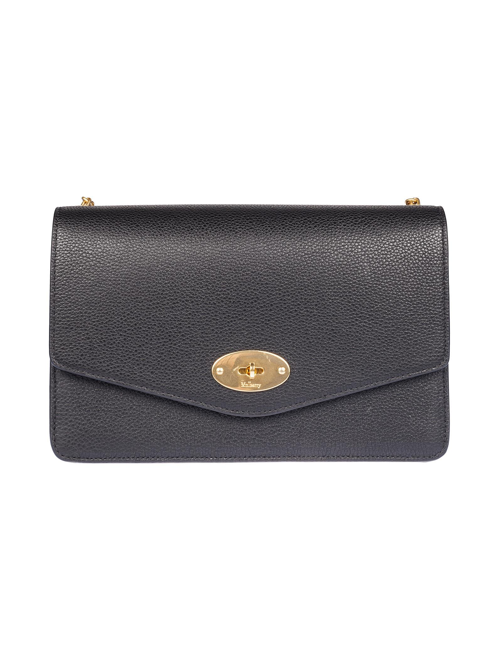 LARGE POSTMANS LOCK CALFSKIN LEATHER CROSSBODY CLUTCH - BLACK