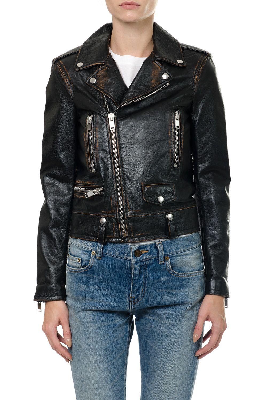 Saint Laurent Classic Bouche Saint Laurent Motorcycle Jacket In Black Vintage Leather