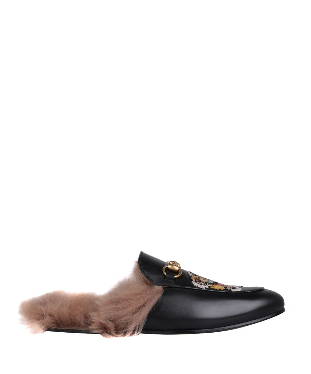 Gucci Princetown Embroidered Horsebit Backless Loafers