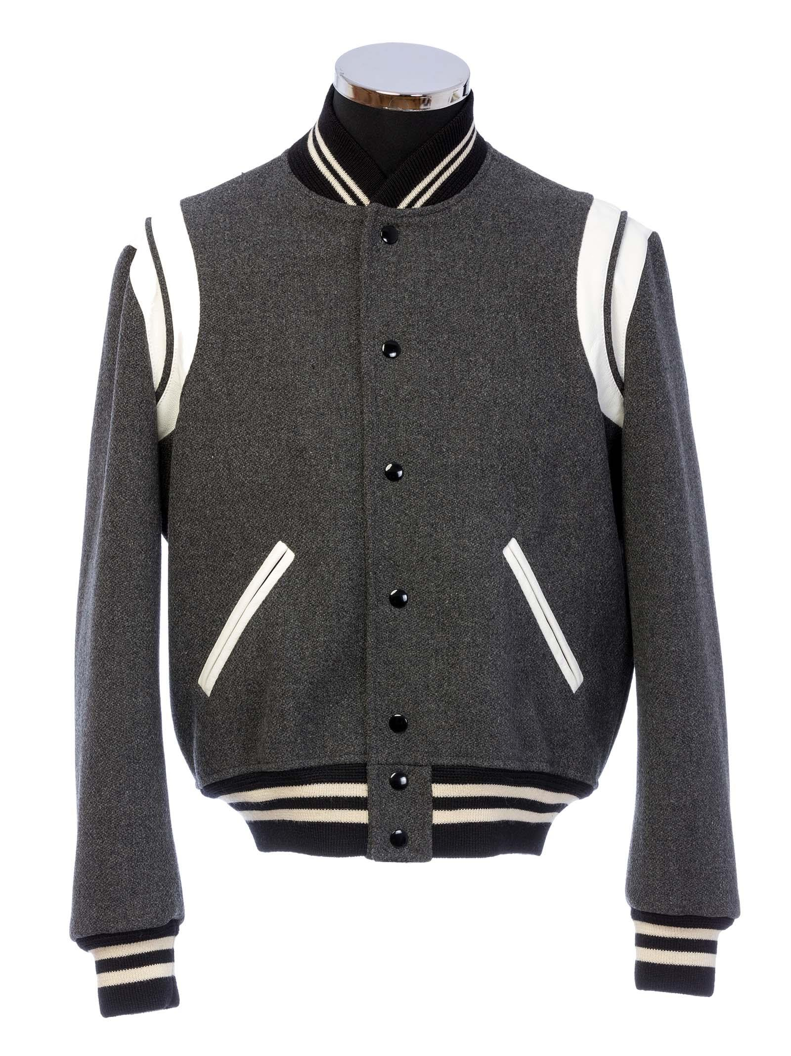 Saint Laurent Classic Teddy Jacket In Grey Wool