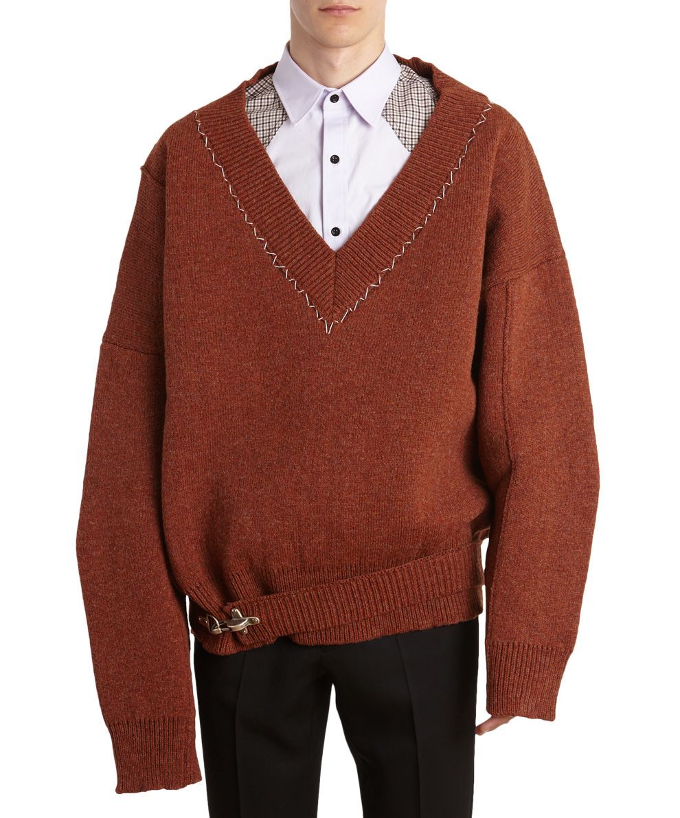 Raf Simons - Raf Simons Fireman Buckle Oversized Wool Sweater ...
