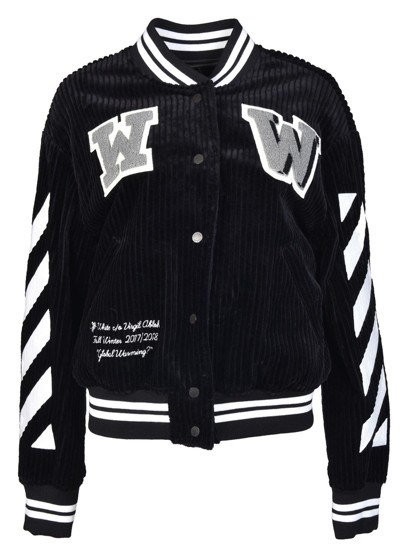 off white off white varsity bomber jacket black women. Black Bedroom Furniture Sets. Home Design Ideas