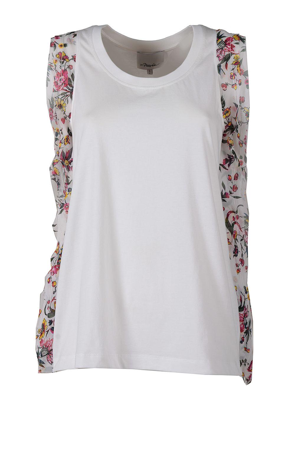 3.1 Phillip Lim Floral Silk-ruffle Cotton-jersey Tank Top