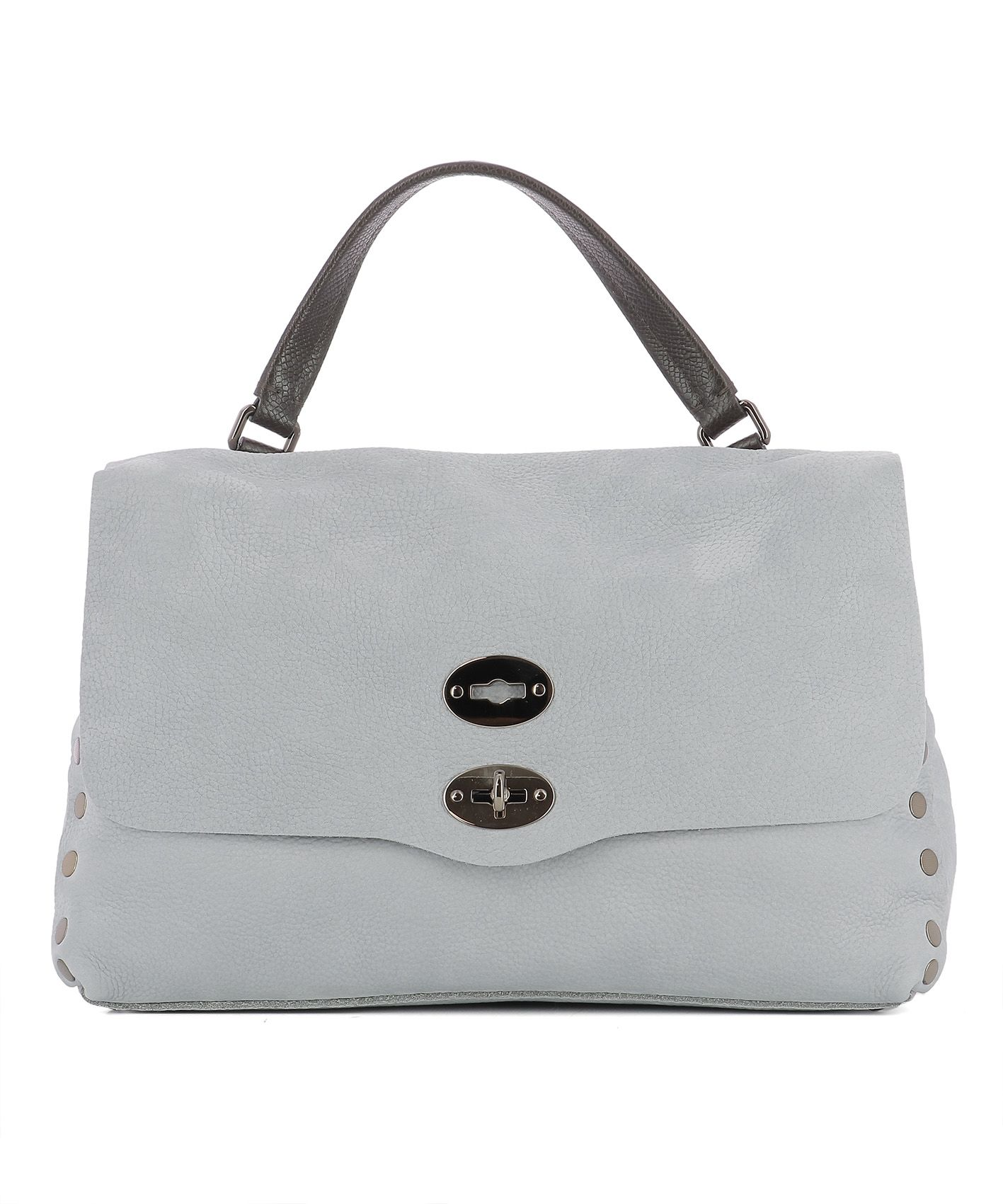 Grey Leather Handle Bag