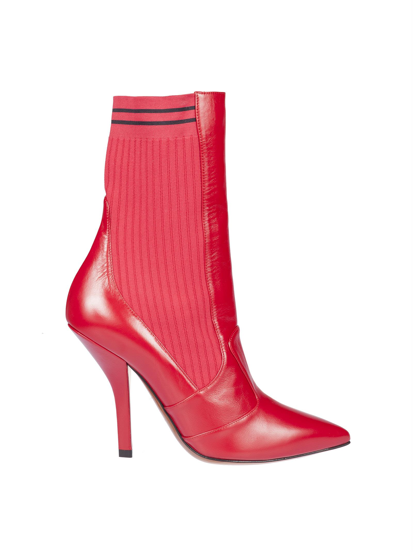 Fendi Sock Heeled Ankle Boots