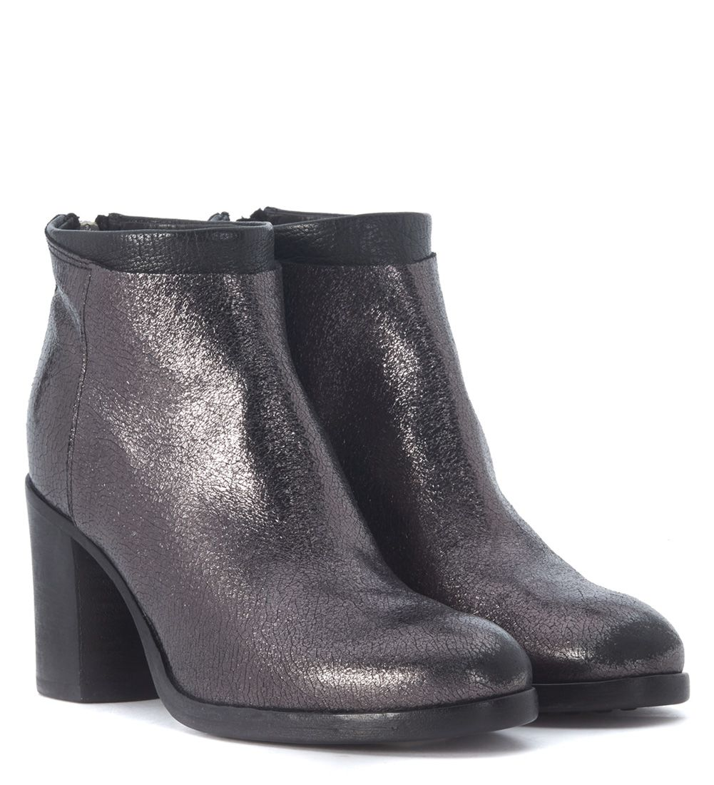 moma moma ankle boots in siver vintage laminated leather