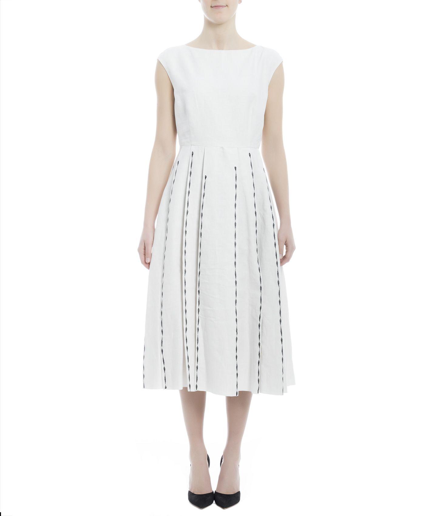 Bottega Veneta Linens WHITE LINEN DRESS