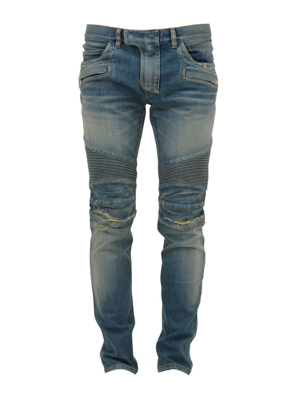 Balmain Biker Destroyed Denim Jeans