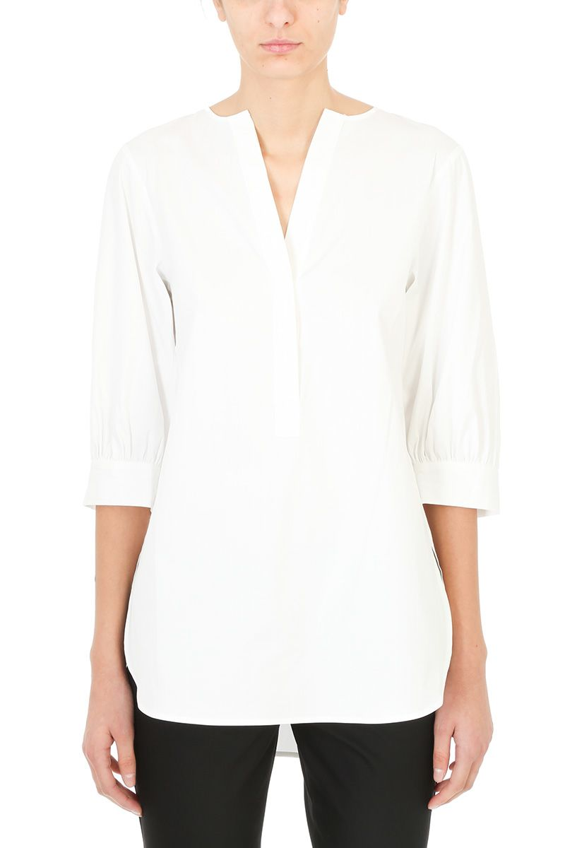 Theory Loose Fit Stretch White Cotton Shirt