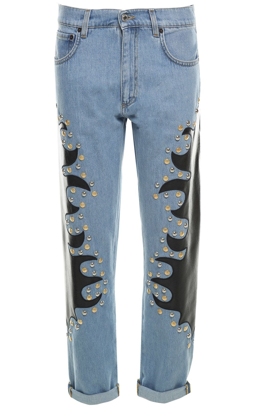 Moschino Studded Embroidered Cotton-denim Jeans