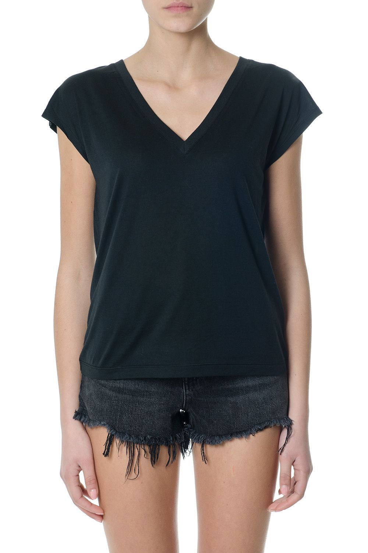 Alexander Wang V Neck Black Cotton T-shirt