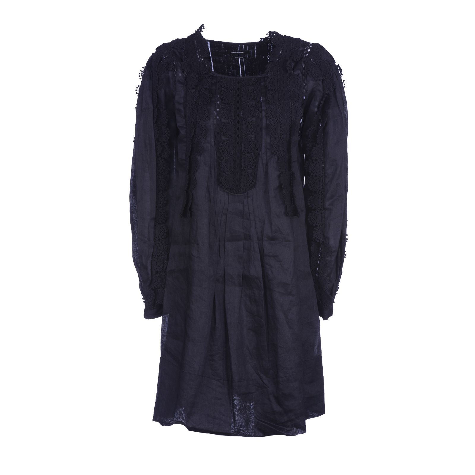Isabel marant isabel marant lace trim dress black for Isabel marant shirt dress