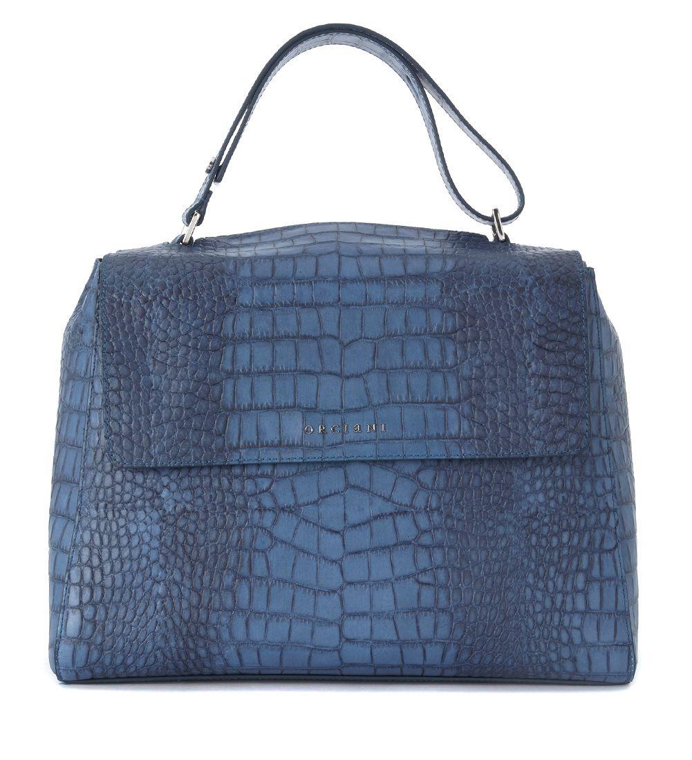 Orciani Diamond Avio Bue Cocco Printed Leather Shoulder Bag