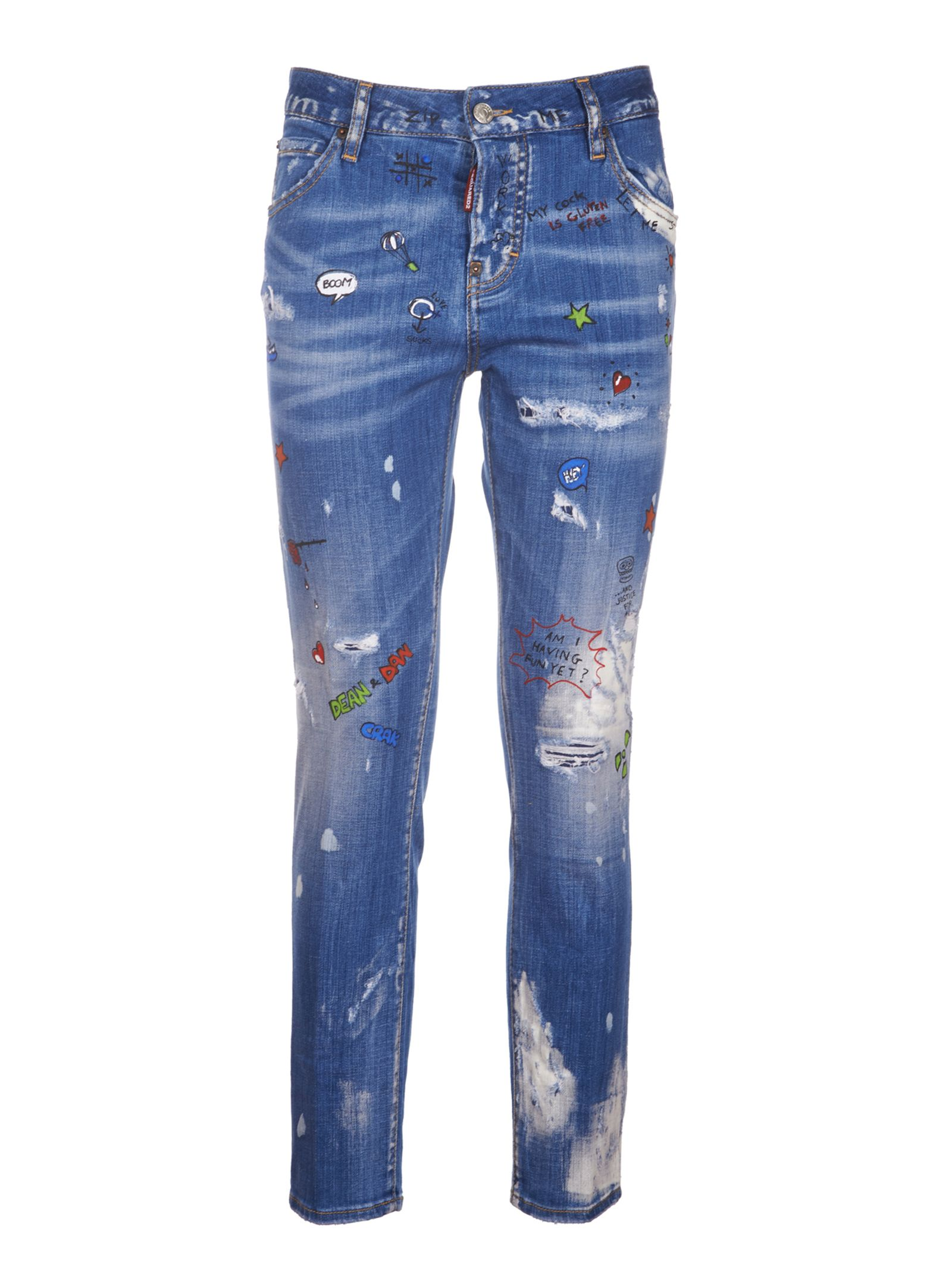 Dsquared2 Fringed Detail Jeans